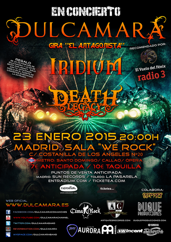 Entradas para dulcamara iridium death and legacy en for Sala we rock